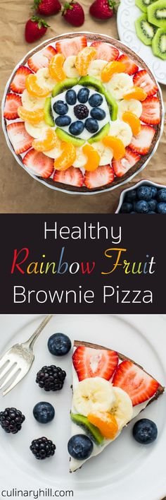 A lightened-up Brownie Pizza crust topped with a Greek yogurt spread and piles of fresh fruit. It's a sweetly satisfying summer treat that's better for you!
