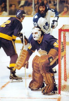 From the book, Hockey In The Seventies: The Game We Knew. Hockey Goalie, Hockey Games, Ice Hockey, Nhl, Hockey Highlights, Maple Leafs Hockey, Hockey Pictures, Hockey Season, Goalie Mask
