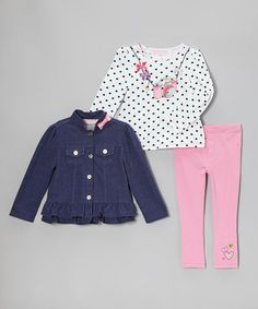 Take a look at this Blue Wash Denim Ruffle Jacket Set - Infant by Kids Headquarters on #zulily today!