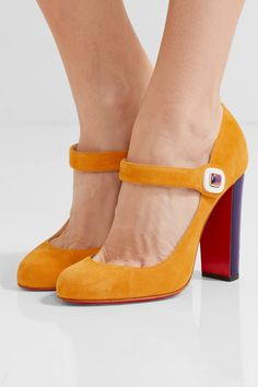 Christian Louboutin - Bibaba Suede Mary Jane Pumps - Saffron - IT37.5