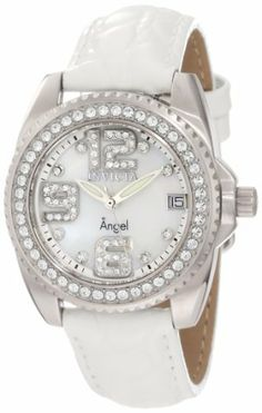 Invicta Women's 1119 Wildflower White Mother-Of-Pearl Dial Crystal Accented White Leather Watch Invicta. $109.99. Swiss quartz movement. Flame-fusion crystal; stainless steel case; white leather strap with reptile pattern. White mother of pearl dial with silver tone hands, white crystals set on hour markers and Arabic numerals; stainless steel bezel encrusted with white crystals; luminous; 6 additional interchangeable leather straps in shades of blue and green included. Wat...