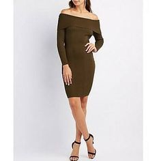 768da6204d0 Shop Women s Charlotte Russe size XS Dresses at a discounted price at  Poshmark. Description  Olive green ribbed off the shoulder sweater dress.