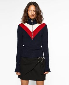 Image 2 of ZIPPED HIGH NECK SWEATER from Zara
