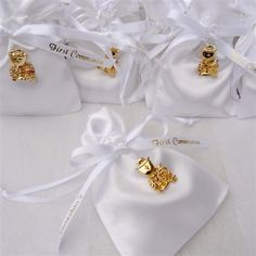 Luxe satin First Holy Communion favor pouches, personalized in gold with chalice pin. Filled with Jordan almonds, or chocolate candy. Christening Party, Baptism Party, Baptism Ideas, First Communion Invitations, Communion Favors, Boys First Communion, Baptism Centerpieces, Personalized Ribbon, Religious Gifts
