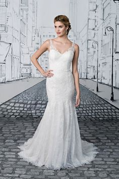 V-Neck Fit and Flare Lace Gown with Sequin Embellishments