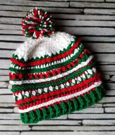 Italy - Mexico - Olympics beanie - Country color hat - red white green -  crochet 9baa7f8dea48