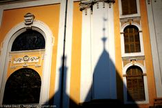 The shadow of the town hall on the walls of the Roman Catholic co-cathedral (Old Church) in Kecskemet, Hungary / A kecskméti városháza árnyéka a Nagytemplom (Öreg templom) falán Town Hall, Roman Catholic, Hungary, Cathedral, Walls, Beautiful, Catholic, Cathedrals