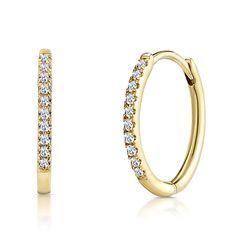 Stellato Diamond Encrusted Hoop Earrings in Gold - Item Mens Diamond Earrings, Gold Hoop Earrings, Diamond Stores, Platinum Jewelry, Conflict Free Diamonds, Cartier Love Bracelet, Bangles, Gemstones, Ears