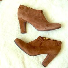 Suede Booties Brown suede ankle booties by Sam Edelman with three inch heels. These hug the ankles and have a nice textured sole that makes them comfy and prevents slipping. Sam Edelman Shoes Ankle Boots & Booties