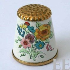 Bilston Battersea Enamels Vintage Yellow Rose Flower Bouquet Enamel Thimble | eBay
