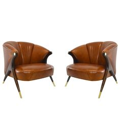 Modernist Karpen Lounge Chairs in Cognac Leather, circa 1950s | 1stdibs.com