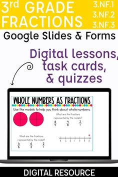 Looking for independent activities for your students to practice the 3rd grade fractions standards? These digital resources walk students through an interactive lesson, include digital task cards, and an easy grade formative assessment. Skills included are introducing fractions, fractions of a shape, fractions on a number line, fractions greater than one, equivalent fractions, whole numbers as fractions, and comparing fractions. Teaching fractions with digital centers has never been easier!