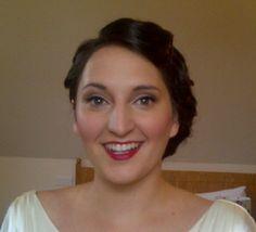 Vintage bride hair makeup red lips