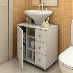 Balcão para encaixe de coluna de pia com gavetas corrediça Metálica Branco - Politorno