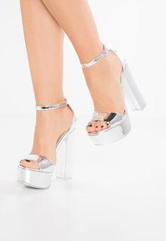 GONZO - Sandały na obcasie - silver metallic Lace Up Heels, Pumps Heels, Stiletto Heels, Bridal Heels, Wedding Heels, Steve Madden, Mode Kpop, Aesthetic Shoes, Prom Heels
