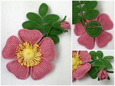Irish lace, crochet, crochet patterns, clothing and decorations for the house, crocheted. Crochet Leaves, Knitted Flowers, Crochet Flower Patterns, Crochet Designs, Crochet Brooch, Crochet Motif, Knit Crochet, Crochet Blouse, Handmade Flowers
