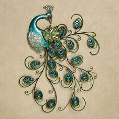 """Bedazzle your walls with the Pretty Peacock Indoor/Outdoor Metal Wall Art. This metal wall accent features a beautiful peacock spreading its curling, dimensional tail feathers. This exotic bird is finished in blue and has feathers accented in green, copper, aqua, & indigo. The feathers on its head are accented with blue gems. Due to the handcrafted nature of this item, minor variations in color & size may occur. Peacock wall art measures 26""""x32"""". Indoor or outdoor year-round display"""