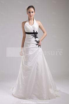 White A-Line Court Train Taffeta Halter Wedding Dress with Color -Wedding & Events-Wedding Dresses-Halter Wedding Dresses