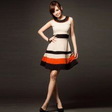 Graceful Round Neck Sleeveless Color Match Fitted Polyester Dress For Women