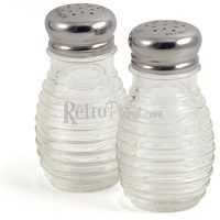 Diner Style Beehive Glass Salt & Pepper Shakers  http://www.retroplanet.com/PROD/23469