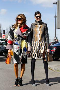 Street Style, Paris: 30 shots of fashion elite outside the weekend's Fall 2014 shows. Anna Dello Russo and Giovanna Battaglia Colorful Fashion, Love Fashion, High Fashion, Winter Fashion, Fashion Design, Fashion Trends, Paris Fashion, Street Fashion, Street Chic