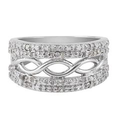 I am absolutely in love with the Sterling Silver 1/4 cttw Diamond Infinity Design Band Ring from #jewelexclusive
