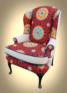 Queen Anne Wingback Chair with Suzani print by BeautyAdorned, $600.00