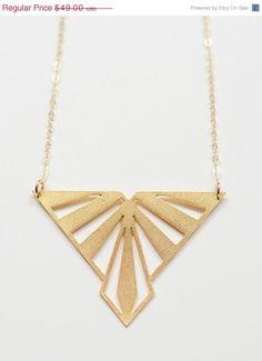 Nouveau Triangle Gold Necklace