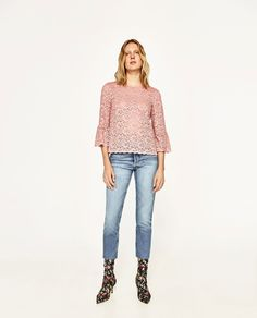 ZARA - WOMAN - LACE TOP WITH FRILLED SLEEVES
