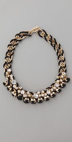 Adia Kibur  Black Stone & Crystal Cluster Necklace  $84.00