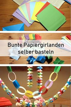 Papiergirlande mit Kindern selber basteln, Geburtstag Karneval Fasching Papierbasteln