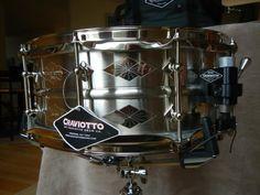 "Craviotto 14 x 5.5"" Diamond Series Nickel over Brass Snare Drum."