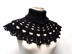 Handmade Crocheted and Knitted Neckwarmer  Wool Capelet by ixela