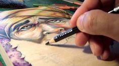 Time Lapse using Prismacolor Premier soft core pencils on wood. Art by Bryan Collins.