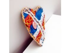 Brooch blue heart,embelished fabric and handmade (New)