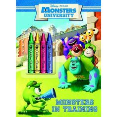 Monsters In Training Disney Pixar University Color Plus Chunky CrayonsThis Coloring Book Includes Four Crayons That Are Just The Right