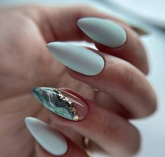 Kaki Nails, Mint Nails, Blue Nails, Chic Nails, Stylish Nails, Trendy Nails, Classy Nail Art, Elegant Nails, Girls Nail Designs