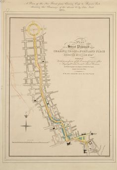 The British architect John Nash died on the 13 May 1835. Responsible for much of the layout of Regency London, here is his plan of the new street from Charing Cross to Regent's Park, showing the drainage of the streets.