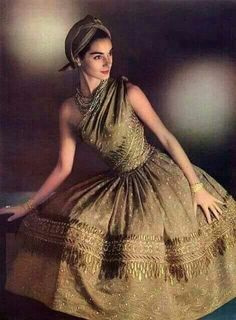 Jacky Mazel ~ Indian-inspired evening dress by Christian Dior. Photograph by Phillippe Pottier, Vintage Beauty, Vintage Dior, Look Vintage, Vintage Couture, Vintage Glamour, Vintage Dresses, Vintage Outfits, Vintage Hats, Christian Dior Vintage