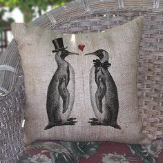 Penguin Love Burlap Pillow
