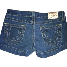 Pre-owned True Religion Denim Shorts ($71) ❤ liked on Polyvore