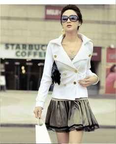 Women Double Breasted Lapel Casual Suit Jacket Outerwear Coats