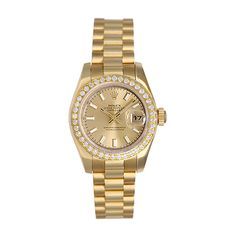 Rolex Ladies President 18K Gold Watch 179178 Champagne Dial ❤ liked on Polyvore featuring jewelry, watches, accessories, bracelets, yellow gold watches, 18 karat gold jewelry, diamond bezel watches, yellow gold jewelry and gold wristwatches