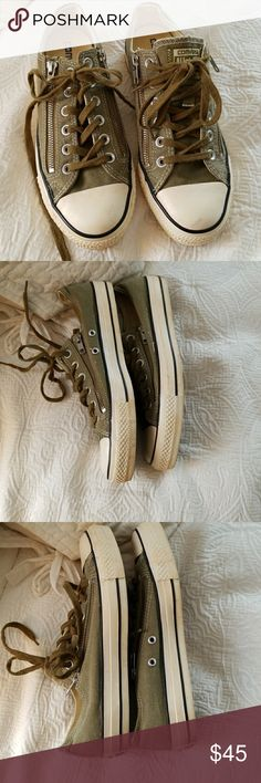 Converse sneakers Forest green converse with side zippers. In good condition. Gently used. Converse Shoes Sneakers