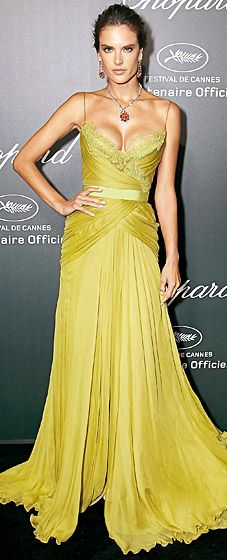 Alessandra Ambrosio wears a green chiffon Elie Saab Couture gown at Cannes