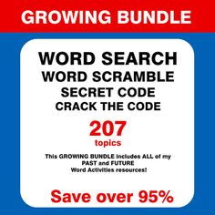 This Word Search Puzzles Bundle includes 207 word activities packets. Each activities packet includes: Word Search Puzzle - 4 Difficulty Levels, Word Scramble - 2 Difficulty Levels, Secret Code, Crack the Code. Answer key included. This GROWING BUNDLE includes ALL of my PAST and FUTURE Word Activities resources! #wordsearch #scrambler #tpt Secret Code, The Secret, Instruments Of The Orchestra, Computer Works, Pythagorean Theorem, Word Search Puzzles, Action Verbs, Figure Of Speech, Irregular Verbs