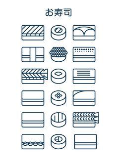 Sushi icons on Behance