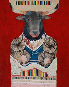 """Acrylic on wood panel Title: """"Mother Cow"""" Size: 14"""" x 11"""", available at Sao House gallery, Montreal, QC"""