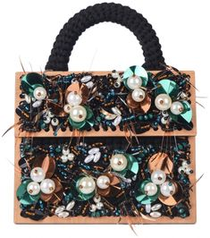 Black hand woven small 'Copacabana' purse with beads, green sequines and pearl details, removable black strap, inside pocket, handle, plywood buttons and frames. 100% microfiber acrylic Height: 16.0 cm Width: 20.0 cm Depth: 10.0 cm Preorder will be shipped in two weeks after the payment has been processed. Handmade in Georgia