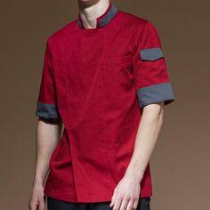 Black White Red Short Sleeve Shirt - Little Tailor Studio Cafe Uniform, Uniform Shirts, Bakery Cafe, Cafe Restaurant, Black White Red, Red Shorts, Barista, Cotton Shorts, Work Wear